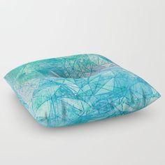 aquamarine space geometry Floor Pillow