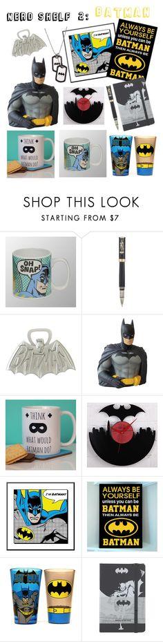 """Nerd Shelf #2: Batman"" by x-sweetea-x ❤ liked on Polyvore featuring interior, interiors, interior design, home, home decor, interior decorating, Montegrappa and Moleskine"
