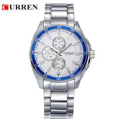 >> Click to Buy << CURREN 8076 Casual Chronometer Quartz Watch with Round Dial/Embedded Dials/Strip Scale-Blue #Affiliate