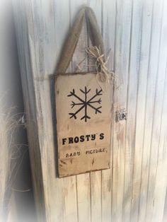 winter sign from old cupboard door:)