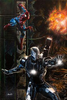 #Spiderman #Fan #Art.  (Spider-Man and War Machine) By: GuillermoBoetto. ÅWESOMENESS!!!™ ÅÅÅ+