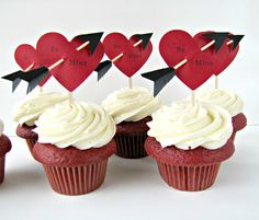 Cupid's Arrow Be Mine Cupcake Toppers by Kiwi by KiwiTiniCreations