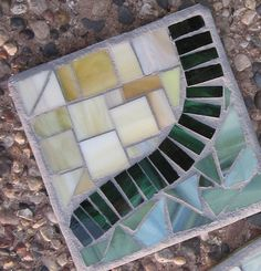 Mosaic coasters set of 4: green stained glass