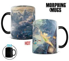 Fly to Neverland every time you sit down with a hot cup of coffee with this Morphing Mugs™ heat-sensitive, color changing mug. This collectible features Thomas Kinkade's panoramic painting, Tinker Bell and Peter Pan Fly to Neverland, done in Kinkade's instantly recognizable, luminous style. The exterior of this officially licensed 11oz mug transforms from black as hot liquid is added, revealing the hidden image in full vivid colors.