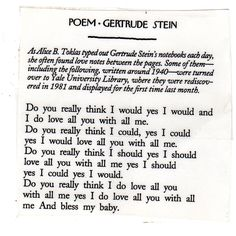 Gertrude Stein poem - The New Yorker