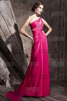 Elegant One shoulder Long Pink Prom Dresses | #promdress