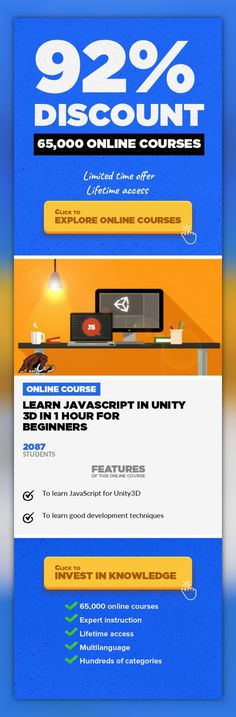 Learn JavaScript in unity 3d in 1 hour for beginners Game Development, Development #onlinecourses #onlinebusinesstips #CoursesObstacleMost of John Bura's courses are on sale for 9 dollars! https://www.udemy.com/u/johnbura/ Sale ends Oct 31 2013! Act now! Learn how to code in JavaScript for Unity3D. Unity 3D is best engine to make your brilliant game a reality and get it to market as quick as pos...