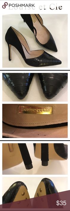 """Louise et Cie Hermosah d'Orsay Pump Black 9 wide Nice shoes. Worn once. Marked size 9 wide. I wear a 9.5 and these are a little big """" long""""on me but I could wear these. Reptile Embossed leather on the toes with rest of shoe a Suede. All leather upper and lining. Manmade sole. 4"""" heel. No box. Louise et Cie Shoes Heels"""