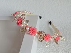 Tiara with pearls beads coral roses and golden leaves Coral headband Beaded headdress Bridal Crown coral rose Pearls headband golden leaves Rosas Color Coral, Coral Roses, Unicorn Headpiece, Bridal Headdress, Silver Headband, Pearl Headband, Making Hair Bows, Diy Hair Bows, Unicorn Gifts