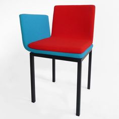 The way couples sit on each other's laps is referenced in the form and two-toned upholstery of this collection of chairs by Dutch designer Annebet Philips