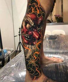 Japanese Mask tattoo by Ben Kaye Tengu Tattoo, Samurai Mask Tattoo, Hanya Tattoo, Irezumi Tattoos, Tebori Tattoo, Japanese Mask Tattoo, Japanese Tattoos For Men, Traditional Japanese Tattoos, Japanese Tattoo Designs