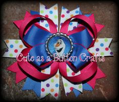Medium Frozen Disney inspired boutique hair bow by tootoocute4you
