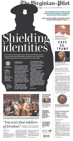 The Virginian-Pilot via Newseum Graphic Design Tips, Book Design, Print Design, Newspaper Design Layout, Front Page Design, Yearbook Layouts, Magazine Layout Design, Newsletter Design, Publication Design
