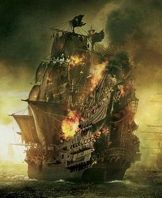 A promo image of the ''Queen Anne's Revenge'', a ship of the notorious pirate Blackbeard, from ''Pirates of the Caribbean: On Stranger Tides''. This image is not mine. Pirate Art, Pirate Ships, Pirate Life, Pirate Crafts, Foto Picture, Bateau Pirate, Old Sailing Ships, Ghost Ship, Black Sails