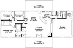Split Level Custom Home Floor Plan  The Georgetown   Wayne Homes    Love the open plan and level entry  First Floor Plan of Contemporary Ranch House Plan