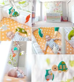 New baby room inspiration, neutral with a few spaces of very bright pops of color. This will be great as we have at last 8 more months of apartment living... Cuteness Overload