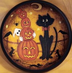 Folk Art Halloween Primitive Wood Bowl  MADE by RavensBendFolkArt