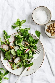 lamb's lettuce salad with radishes, walnuts and pistachios | issy croker photography