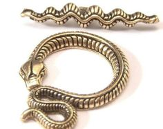 Gold Plated Pewter Serpent Toggle Clasp : 2 Sets