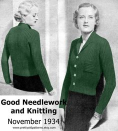 So chic, so classic, so beautiful, so deco - this is a fabulous 1930s cardigan in a larger size (even though the model is tiny) Date: 1934