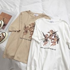 """""""You Can't Sit With Us"""" Cherubs T-shirt Colours) – Ice Cream Cake Retro Outfits, Trendy Outfits, Cute Outfits, Fashion Outfits, Aesthetic T Shirts, Aesthetic Clothes, Graphic Shirts, Mode Inspiration, Korean Fashion"""