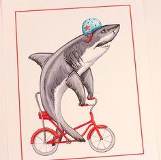 Shark riding a bicycle, cycling shark, shark card, shark brithday card, great white shark Art Wall Kids, Wall Art, Shark Illustration, Bike Drawing, Bicycle Print, Great White Shark, Fun Prints, New Kids, Shark Shark