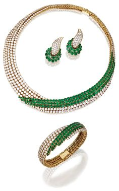 Suite of 18 Karat Gold, Emerald, and Diamond Jewelry, signed Asprey, France. Comprising a necklace set with round diamonds (33.70 carats), accented by round emeralds (10.00 carats); a bracelet set with round diamonds (11.85 carats), and round emeralds (7.80 carats); and a pair of earclips set with round diamonds (3.85 carats), and round emeralds (3.00 carats). Via Sotheby's.