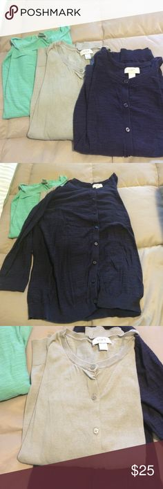 Bundle Ann Taylor loft 3/4 length xl cardigan Bundle extra-large three-quarter length cardigan sweaters all in excellent condition meant gray and navy blue LOFT Sweaters Cardigans