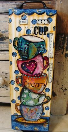 Coffee cup art by Diane Salter. A beautiful little tutorial. Her gelli printed & painted papers are so stunning too.