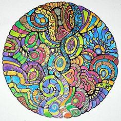 drawings - Mandala by Angela Porter   Sakura glaze pen, Rotring rapidograph pens with black ink, Derwent Inktense pencils with water wash, metallic gold pens