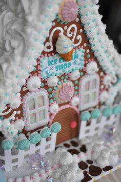 GINGERBREAD HOUSE~Bean Sprinkle Arts Faux Ice Cream Shop by BeanSprinkleArts on Etsy