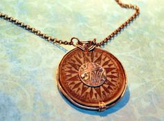 "Ornate Leather Sundial Necklace ~ Textured 1.5"" leather medallion is dyed and highlighted  in a dark brown.  Textured copper encases the outside edge and riveted texured center creates a beautiful artistic effect.   Original Design and OOAK by Bandana Girl ~ Melinda Orr Chain length...please choose.  Lobster clasp finish,  All jewelry will come boxed and bandana ribbon."