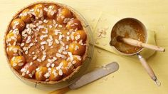 Apricot and almonds are a match made in heaven and this tart makes the most of both of them. For this recipe you will need a 28cm/11in flan tin and a food processor.
