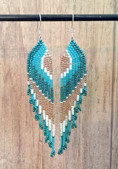Seed Bead Earrings Long Fringe Earrings by EmeraldArtDesigns