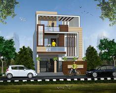 House Ceiling Design, Duplex House Design, House Front Design, Building Elevation, Building Facade, House Elevation, Best Modern House Design, Small Modern Home, 30x50 House Plans