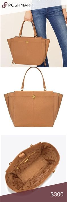 b9a6d89ce06 Tory Burch Ivy Side Zip Tote 100% Authentic Brand New with Tag Genuine  pebbled leather