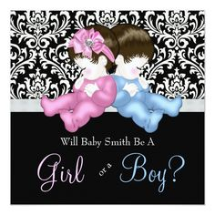Adorable baby boy and girl black damask gender reveal shower invitations. This elegant black damask gender reveal baby shower invitation is . Gender Reveal Party Invitations, Baby Shower Invitations, Custom Invitations, Birthday Invitations, Zebra Baby Showers, Baby Shower Napkins, Party Napkins, Thing 1, Baby Shower Princess