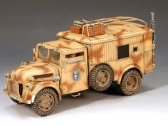 World War II German Afrika Korps Funkkraftwagen - Made by King and Country Military Miniatures and Models. Factory made, hand assembled, painted and boxed in a padded decorative box. Excellent gift for the enthusiast. Ww2 Facts, Afrika Corps, North African Campaign, Model Tanks, Model Cars Kits, King And Country, Military Modelling, Model Airplanes, Strollers