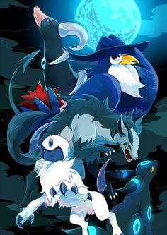 Houndoom, Honchkrow, Mightyena, Absol, Umbreon, Pokemon of the night.
