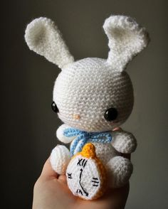 thestitchtower Oh dear! Oh dear! I shall be too late!  This little fellow is not currently for sale but he will be part of something special happening soon!  #whiterabbit #rabbit #aliceinwonderland #alicesadventuresinwonderland #lewiscarroll #crochet #crochetaddict #crochetersofinstagram #fibreart #fibreartist #amigurumi #cute #fantasy #bookworm #thestitchtower