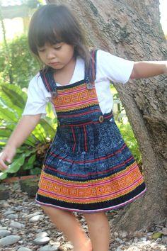 Little Girls Bohemian Dress In Ethnic Hmong Embroidery by DekDoi,
