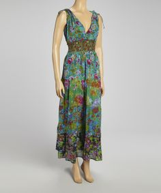 Love this Green Patchwork Floral Maxi Dress by The OM Company on #zulily! #zulilyfinds