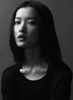 ♀ Woman black and white portrait face Asian Du Juan for Esquire China, January 2013
