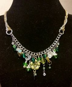 Custom Silver & Brass chains and beads charm necklace....