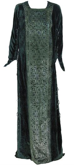 1920's Mariano Fortuny Gold Stenciled Silk-Velvet Tabard Gown.