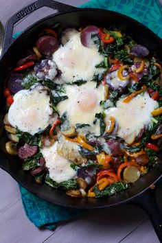 Kale Potato Hash with Baked Eggs and Cheddar