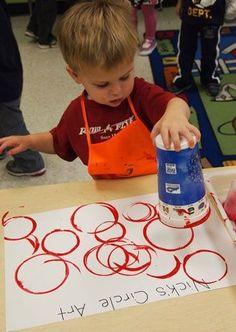 "3yr preschool create ""circle"" art work - learning shapes,Artist Study , circles , Art Featuring Circles, Inspiration for CAPI Students at milliande.com , circles, kreis, symbology , metaphor, emotion, idea, art"