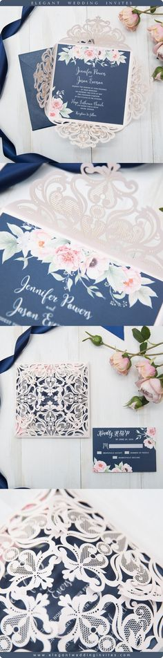 as low as $2.29. Gorgeous Navy and Blush Pink Floral Wedding Invitation With Intricate Pink Lace Laser Cut Wrap.  Discover it on elegantweddinginvites.com!