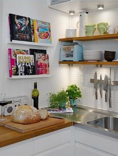 kitchen with cookbook display and open shelving. I love the cookbook display :) Kitchen Interior, Interior, Small Kitchen, Kitchen Remodel, Kitchen Decor, New Kitchen, Kitchen Dining Room, Home Kitchens, Kitchen Design