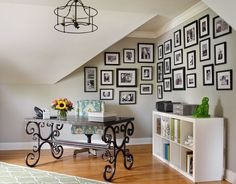 home office with large gallery wall